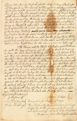 Deed, Aaron Dickinson to David Billings, both of Hatfield, 24 March 1794