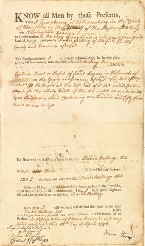 Deed, Ezra Strong, Williamsburg, to David Billings, Hatfield, for land in Williamsburg, 18 April 1776