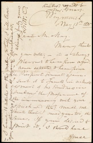 Letter from Maria Weston Chapman, Weymouth, [Mass.], to Samuel May, May 13th, 1885