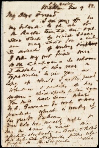Letter from John Murray Forbes, Milton, [Mass.], to Maria Weston Chapman, Nov. 9, [18]82
