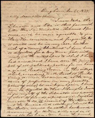 Letter from Increase S. Smith, Hingham, [Mass.], to Caroline Weston, Dec. 25, 1837