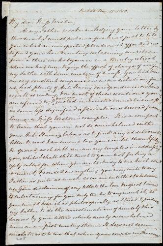 Incomplete letter from Mary Anne Estlin, Park St[reet], [Bristol, England], to Anne Warren Weston, Nov. 15, 1850
