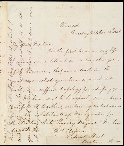 Letter from Lucy Browne, Riverside, [Bridgwater, England], to Maria Weston Chapman, October 15th, 1846