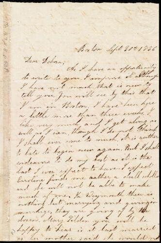 Letter from Lucretia Ann Cowing, Boston, [Mass.], to Deborah Weston, Sept. 30th, 1836