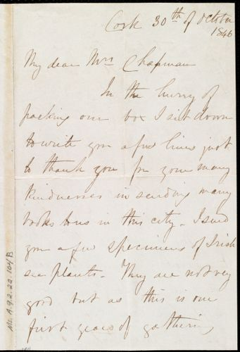 Letter from Hannah Ely White, Cork, [Ireland], to Maria Weston Chapman, 30th of October 1846