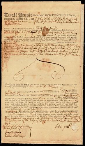 Land deed, John Field of Hadley to Richard Church, 1740