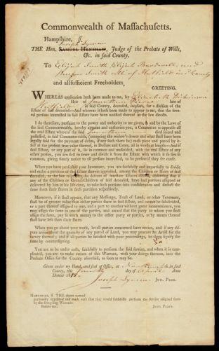 Probate warrant; Elizabeth Dickinson, applicant, 1815