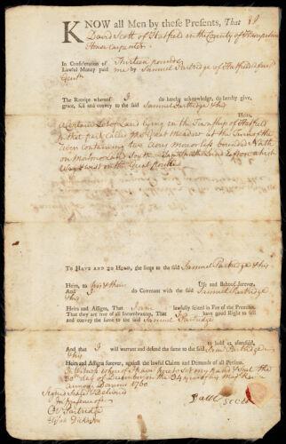 Land deed, David Scott to Samuel Partridge, 1760
