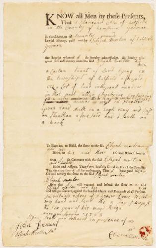 Land deed, Ebenezer Cole to Elijah Morton, 1768