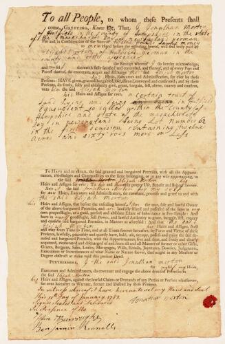 Land deed, Jonathan Morton to Elijah Morton, January 1782