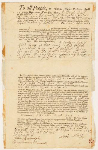 Land deed, Noah Nash to Elijah Morton, 1782