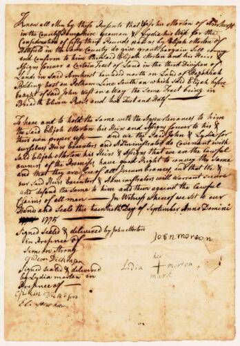 Land deed (handwritten), John and Lidia Morton to Elijah Morton, September 20, 1775