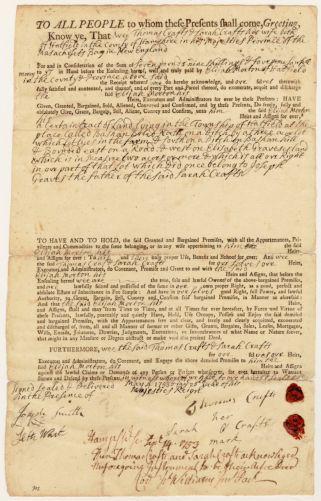 Land deed, Thomas and Sarah Craft to Elijah Morton, May 4, 1753