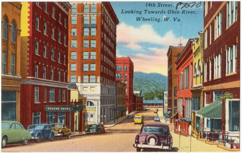 14th Street, looking towards Ohio River, Wheeling, W. Va.
