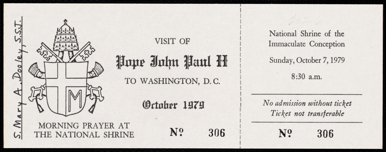 White House invitation, ticket