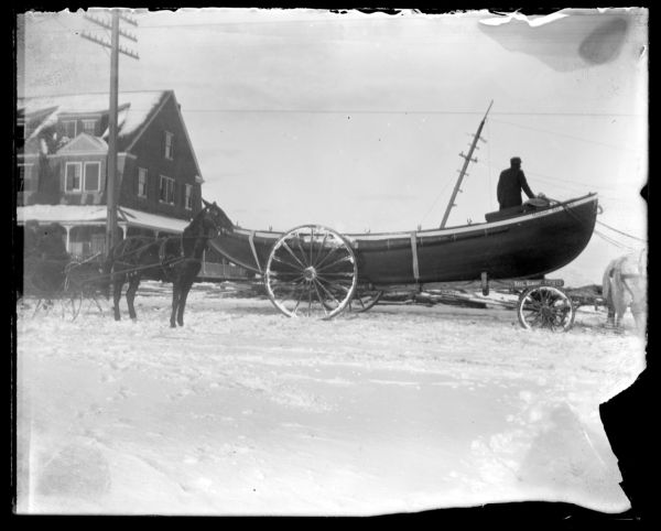 Life boat getting ready to launch-saved 3 men from Lobster Rock Nov. 27 1898