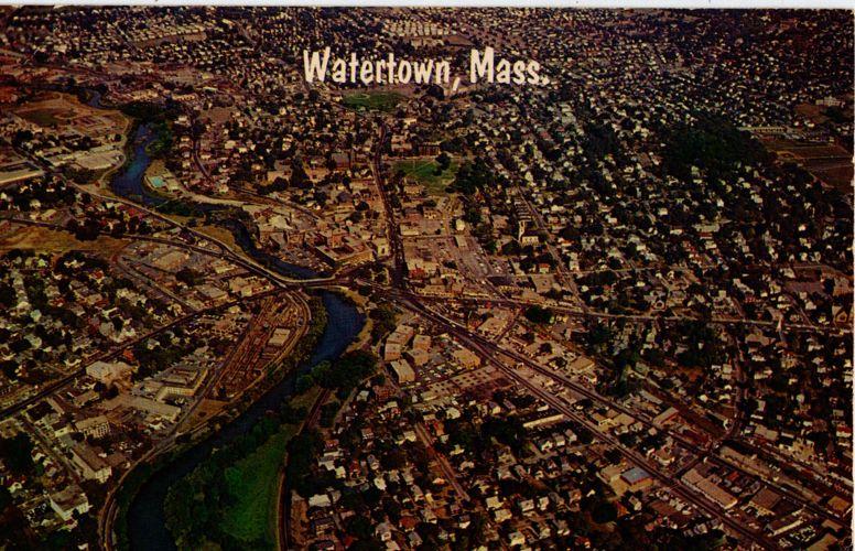 Aerial view of Watertown, Massachusetts.