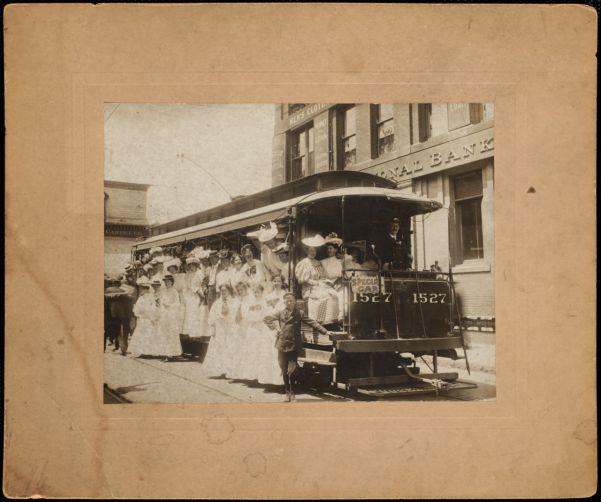 Women on electric street car