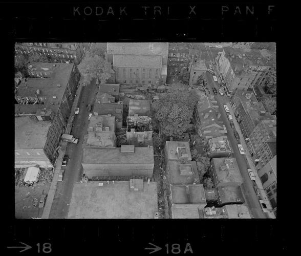 Aerial shots of burnt buildings on Trumbull Street