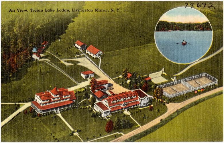 Air view, Trojan Lake Lodge, Livingston Manor, N. Y.