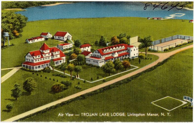 Air view -- Trojan Lake Lodge, Livingston Manor, N. Y.