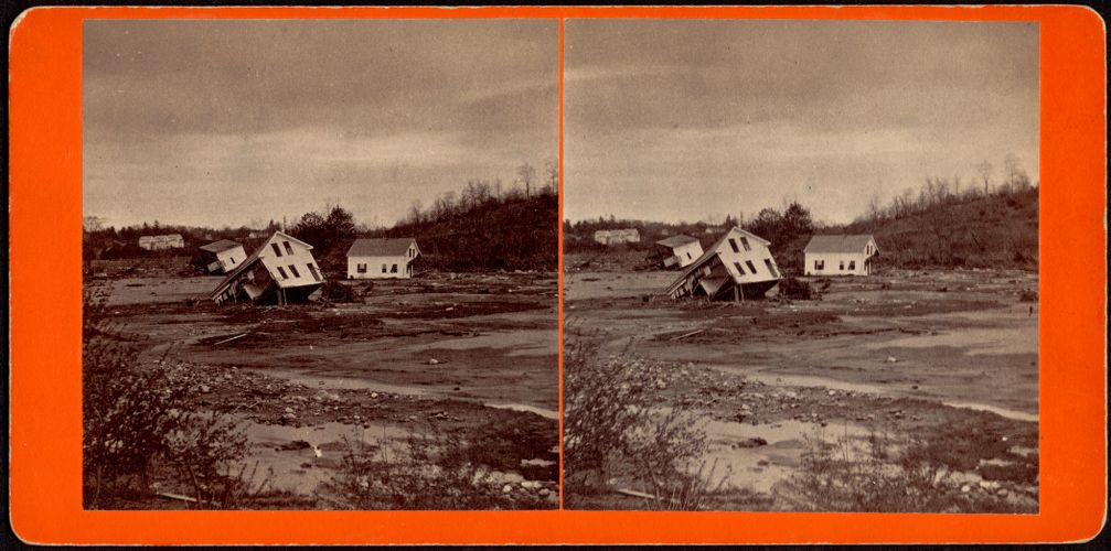 View showing the three houses and the flats, near site of Silk Mill--Skinnerville