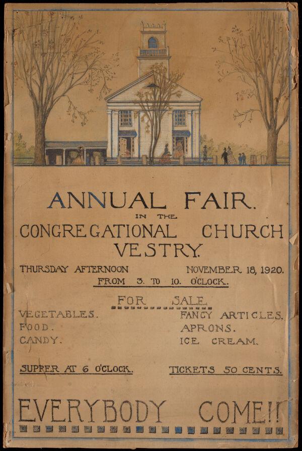 Annual fair in the Congregational Church vestry