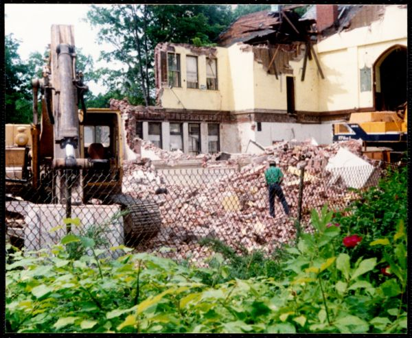 Newton Free Library, Old Main, Centre St. Newton, MA. Razing of the Old Main Library