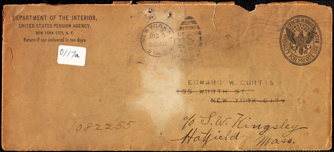 Discharge papers for Edward W. Curtis