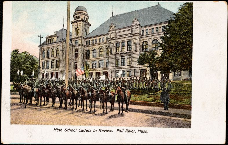 High school cadets in review, Fall River, Mass.