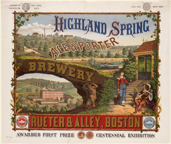 Highland Spring Brewery ale & porter. Rueter & Alley, Boston