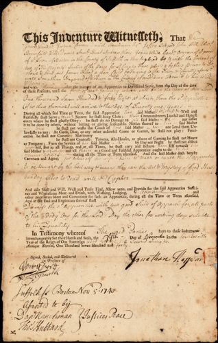 Document of indenture: Servant: Flood, James. Master: Hayward, Jonathan. Town of Master: Woburn