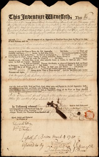 Document of indenture: Servant: Anger, Robert. Master: Cutler, Ebenezer. Town of Master: Weston
