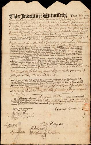 Document of indenture: Servant: Sossen, Mary. Master: Sumner, Ebenezer. Town of Master: Milton