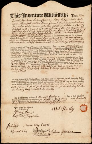 Document of indenture: Servant: Burke [Burk], Ellenor. Master: Hartley, Thomas. Town of Master: Boston
