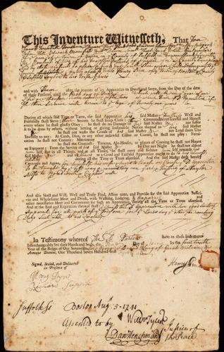 Document of indenture: Servant: Star, Samuel. Master: Price, Henry. Town of Master: Boston