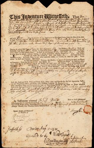 Document of indenture: Servant: Star, Samuel. Master: Price, Henry. Town of Master: Boston