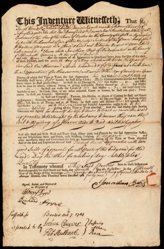 Document of indenture: Servant: Negers, William. Master: Bass, Jonathan. Town of Master: Bridgewater