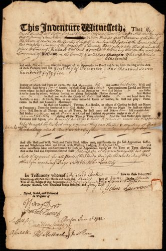 Document of indenture: Servant: Whitcomb, Richard. Master: Lawrence, John. Town of Master: Woburn