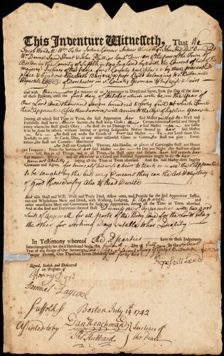 Document of indenture: Servant: Barjere, Elisabeth. Master: Leeds, Hopestill. Town of Master: Dorchester