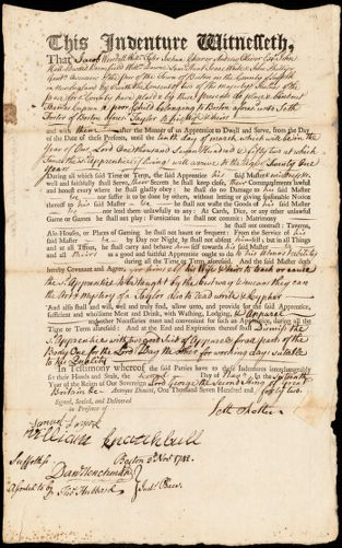 Document of indenture: Servant: Capron, Thomas. Master: Foster, Seth. Town of Master: Boston