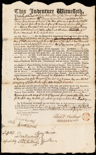 Document of indenture: Servant: Dixon, Mary. Master: Belknap, Abraham. Town of Master: Boston