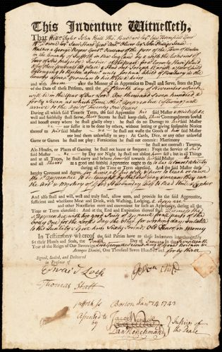 Document of indenture: Servant: Warwick, Joseph. Master: Child, Joshua. Town of Master: Roxbury