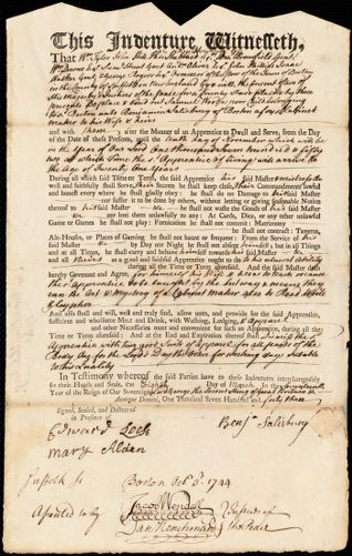 Document of indenture: Servant: Wood, Samuel. Master: Salisbury, Benjamin. Town of Master: Boston