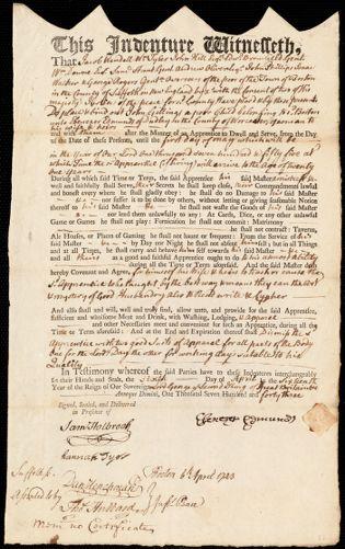 Document of indenture: Servant: Gillings, John. Master: Edmunds, Ebenezer. Town of Master: Dudley