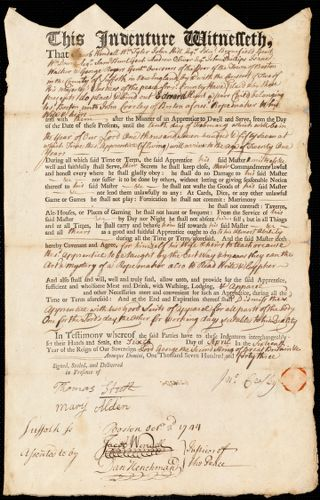 Document of indenture: Servant: Hunt, Edward. Master: Crosley, John. Town of Master: Boston