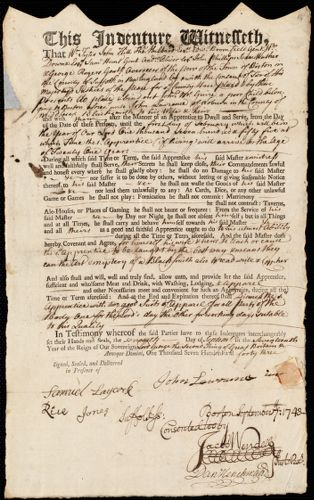Document of indenture: Servant: McGuire, John. Master: Lawrence, John. Town of Master: Woburn