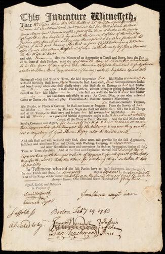 Document of indenture: Servant: Herbert, Mary. Master: Wayt, Jonathan Jr. Town of Master: Lynn