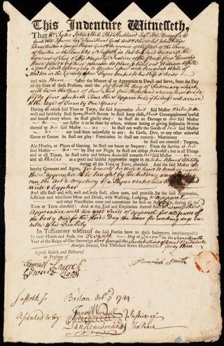 Document of indenture: Servant: White, William. Master: Smith, Jeremiah. Town of Master: Milton
