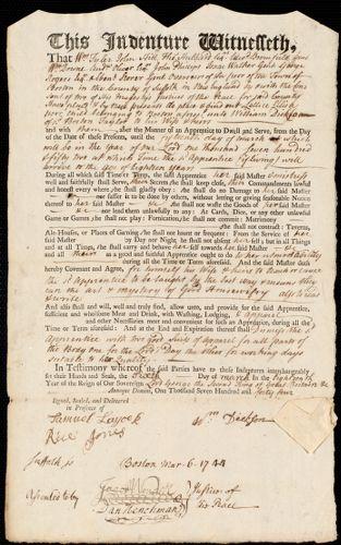 Document of indenture: Servant: Ellis, Lettice. Master: Dickson, William. Town of Master: Boston